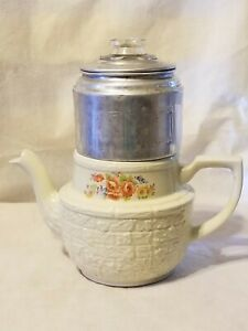 Vintage-Drip-O-Lator-Coffee-Pot-Enterprise-Aluminum-Floral