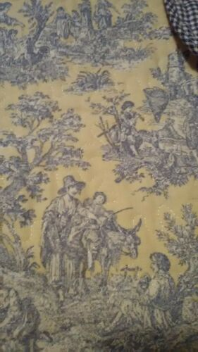 Waverly  French Country Life Toile Blue Yellow Button Valance Curtain Panel