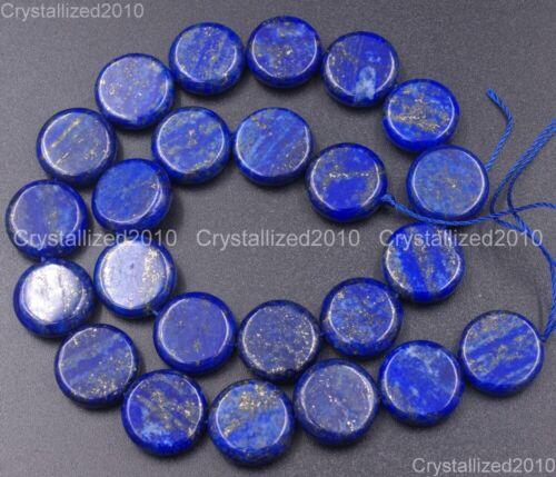 "Natural Lapis Lazuli Gemstone Flat Round Coin Loose Beads 8mm 10mm 12mm 14mm 16/"""