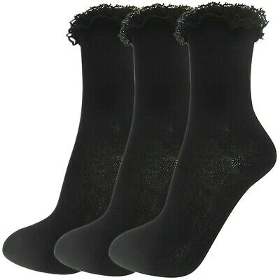 NEW WOMENS GIRLS LADIES LACE LACEY FRILLY ANKLE TRAINER SOCKS BLACK WHITE SIZE