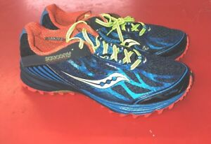 Saucony Men s Perigrine 4 Running Shoe - Size 9.5. Blue yellow red ... e455863aa