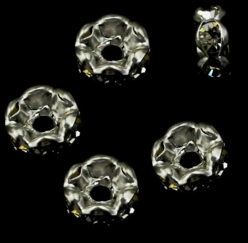 50 vidrio claro pedrería rondell spacer metal perlas 6mm bastones DIY r32