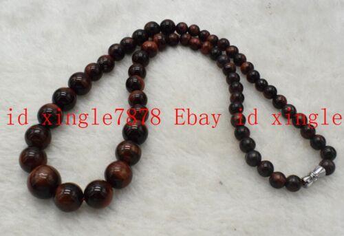"RARE 6-14 mm Naturel Rouge Roar Tiger/'s Eye Gemstone Beads Necklace 18-28/"""