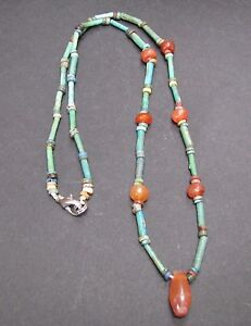 NILE Ancient Egyptian Carnelian Amulet Mummy Bead Necklace ca 600 BC