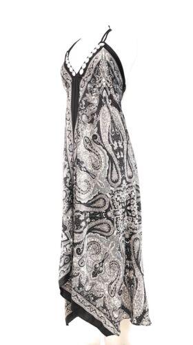 Ladies V Neck Halter Handkerchief Hem Embellished Maxi Dress NWT S-M-L-XL