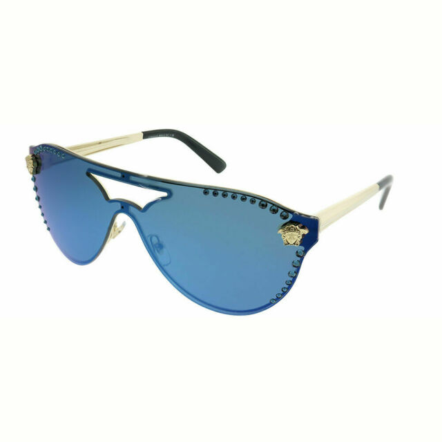 6a770507a7 Versace VE 2161B 125255 Pale Gold Shield Sunglasses Blue Mirror Studded Lens