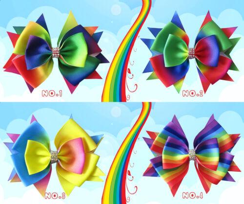 "100 BLESSING Good Girl Boutique 4.5/"" Rainbow Stylish Hair Bow Clip"