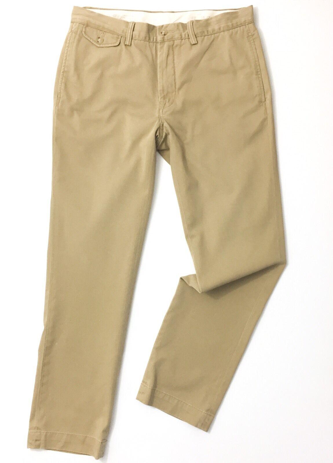 Ralph Lauren Men's Chinos W32 W32 W32 L32 Granary Tan Straight Fit Twill Trousers 1443fd