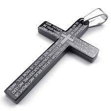 MENDINO Men's Stainless Steel Pendant Necklace Cross Bible Lords Prayer Black