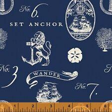 By 1/2 Yard Windham Hidden Cove Fabric ~ Nautical Sea Emblems Navy ~ Ocean Beach