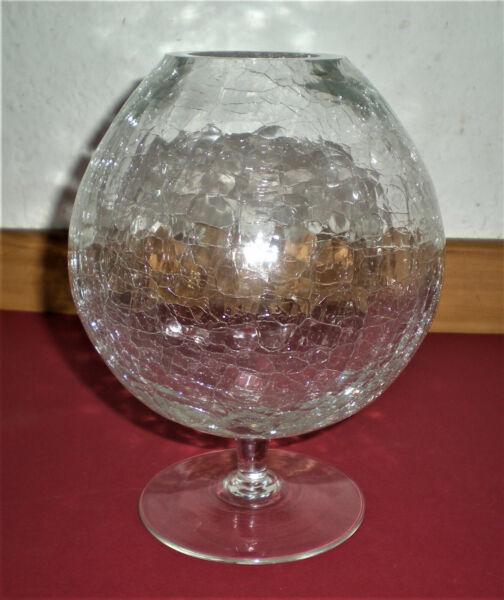 100% Wahr Dekoglas Form Cognacschwenker Auf Standfuß, Glas Krakelee, Höhe 18 Cm, Neuwertig Hohe QualitäT Und Geringer Aufwand