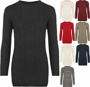 NEW-women-039-s-chunky-cable-knitted-long-jumper-sweater-knit-top-PLUS-SIZE