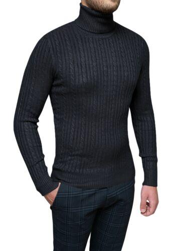 Pullover Rollkragen Schwarz Herren Winter A Zöpfe Slim Fit Strickjacke Pullover