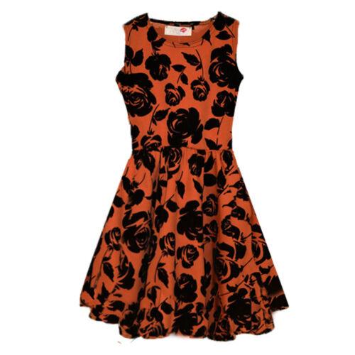 50/% OFF GIRLS Velvet Rose Skater Dress Party Casual Prom Dress CHILDREN