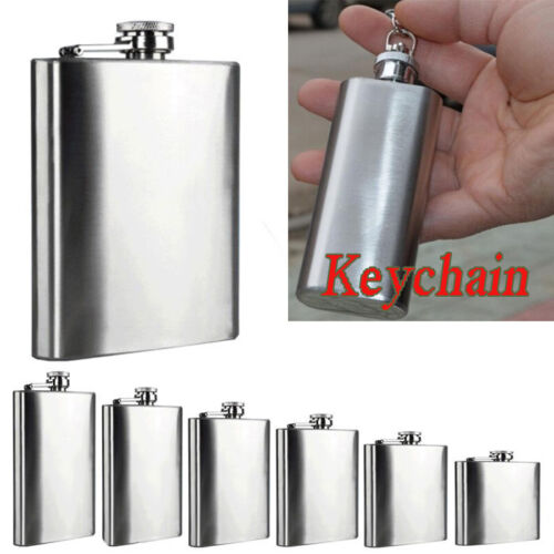 2~18oz Mini Stainless Steel Pocket Hip Flask Alcohol Flagon Keychain Funnel lot