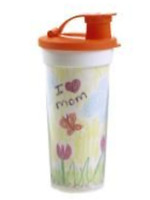 Tupperware Design Your Own Tumbler For Kids W/ Flip Top Seal Orange & White