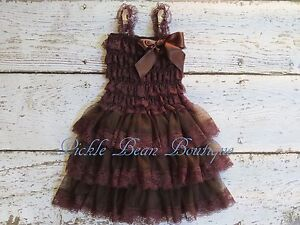 Image Is Loading Girls Brown Lace Dress Country Flower Girl