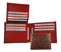 Ag Wallets Cowboy Genuine Leather Bifold Ostrich Skin Print Wallet Red