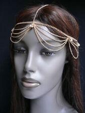 NEW WOMEN GOLD HEAD METAL CHAIN FASHION JEWELRY GRECIAN RHINESTONES STRANDS