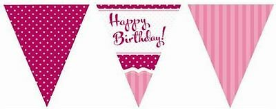 HAPPY BIRTHDAY PARTY PERFECTLY PINK FLAG BUNTING DECORATION 11 FLAGS 12FT