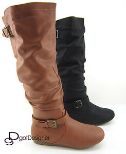 Women-039-s-Fashion-Boots-Shoe-Knee-High-Causal-Comfort-Flat-Heel-Point-Toe-All-Size
