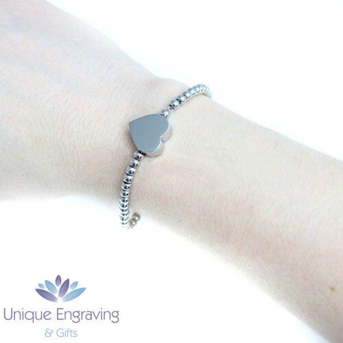 Foto//Texto Personalizado Grabado Corazón Charm Bracelet-Regalo Ideal Día De Las Madres
