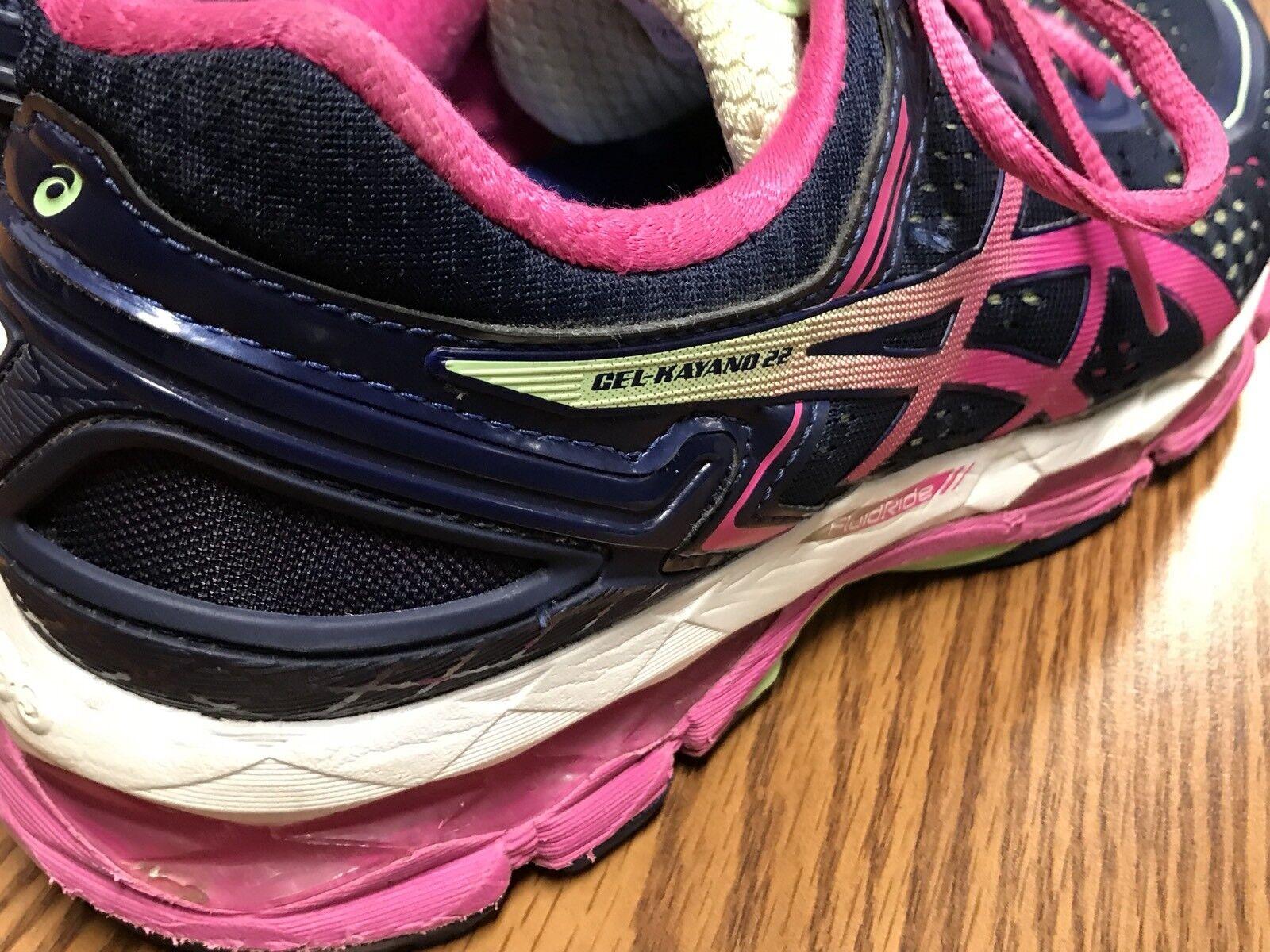 Asics T597N Gel Kayano 22 Azul rosado blancoo Mujer Correr Para Calzado Deportivo Correr Mujer Talla 7.5 4c96b1