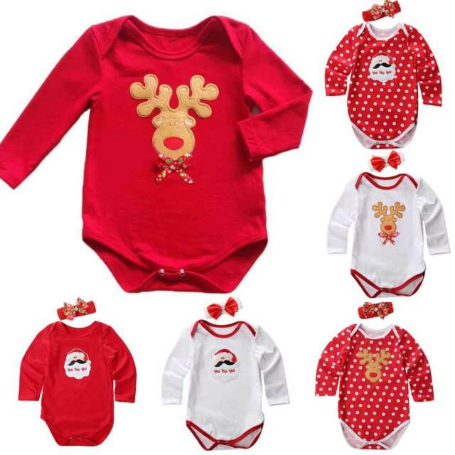 Infant Baby Girl Xmas Santa Claus Party Romper Dress Set 2pc Outfit Clothes Gift
