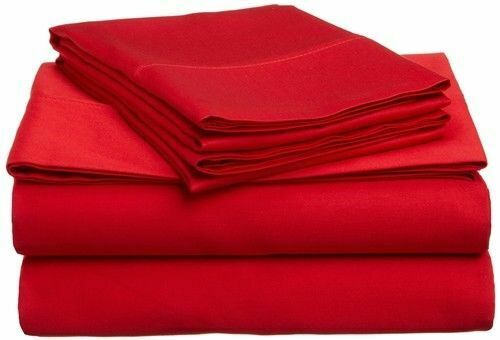 Red Solid Full Size Bed Sheet Set 1000 Count Egyptian Cotton
