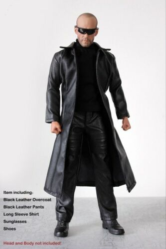 "Men/'s Black Leather coat+pants+Shirt Model  For 1//6th 12/"" Male Figure Doll Toy"