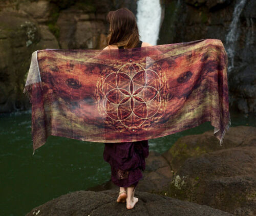 Moth Festival Seed of Life Butterfly Wing Pashmina Sarong Scarf Sacred Geometry