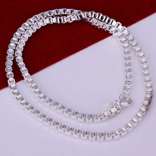 """Promotion Price 925Sterling Silver 4MM 18/"""" Vivid Box Chain Unisex Necklace N016"""