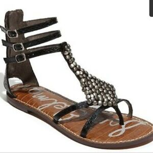 6bdb08e562d Image is loading NEW-Sam-Edelman-Ginger-Gladiator-Sandal-Black-Leather-