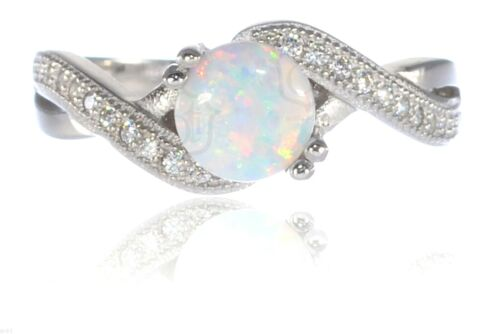 White Fire Opal Infinity Celtic Round Birthstone Sterling Silver Ring