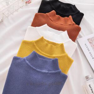 Winter-Womens-Mock-Neck-Pullover-Long-Sleeve-Slim-Knit-Sweater-Shirt-Blouse-Tops
