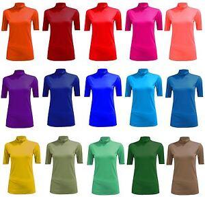5a3d51d24 La imagen se está cargando Camiseta-Mujer-Blusa-Para-Polo-Cuello-Alto-Manga-
