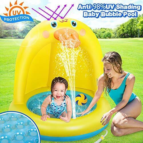 Duckling Shade Baby Pool, 40 Inches Inflatable Sprinkle Splash Play Pool
