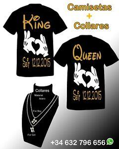 que buen look descuento mejor valorado mejor selección de Detalles de Pack 4 Unidades King Queen Camisetas Collares Pareja  Personalizado Camisetas