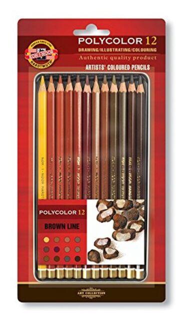 KOH-I-NOOR Polycolor Brown Line Artist's Coloured Pencils (Set of 12)