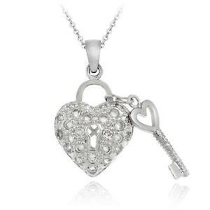 925 sterling silver cz heart key necklace ebay image is loading 925 sterling silver cz heart amp key necklace mozeypictures Image collections