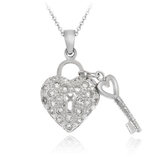 925 Sterling Silver CZ Heart & Key Necklace