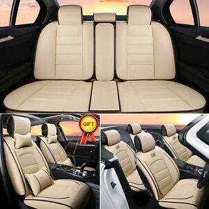Deluxe-PU-Leather-5-Seat-Car-Seat-Cover-Cushion-Front-Rear-w-Neck-Lumbar-Pillows