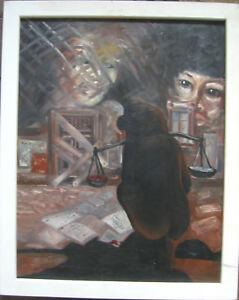 LABOR-1986-AFFE-IM-KAFIG-MIT-WAAGE-OLGEMALDE-SYMBOLIST-UNGEDEUTET-SELTEN
