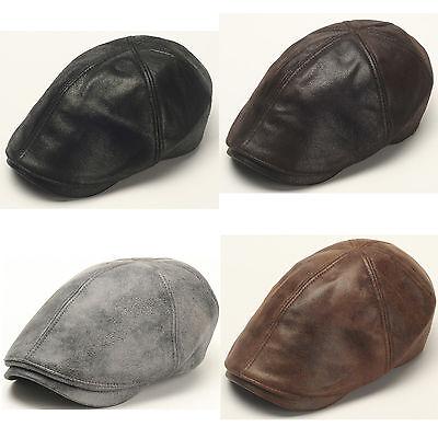 New Design Men Leather Ivy Cap Newsboy Beret Cabbie Gatsby Flat Golf Hat