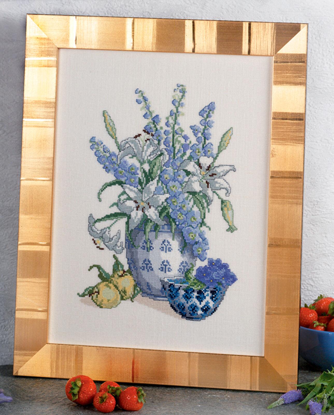 Eva pinknstand 94-461 Bouquet de fleurs white blue Aida kit Lauf gewertet