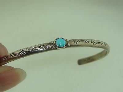 VINTAGE NATIVE AMERICAN MITCHELL CALABAZA STERLING TURQOISE YOUTH CUFF BRACELET!