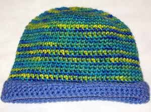 HANDMADE Knit CROCHETED Womens size SMALL Kids BEANIE HAT Blue GREEN Yellow Cap