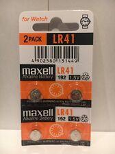 Maxell Lr41 4 Battery Ag3 192 Pack Cell Batteries Button Watch Alkaline New 392