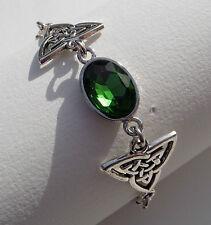 Bracciale DARK SILVER PLATED Tri Celtic Knots & Cristallo Sfaccettato Verde Vetro Ovale