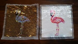 Wendepailletten Patches Aufnäher Pailletten Applikation Flamingos